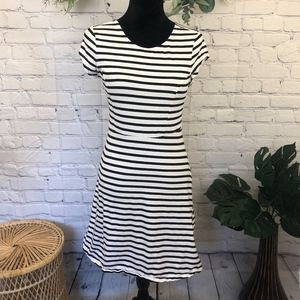 Old Navy black & white stripe fit and flare dress